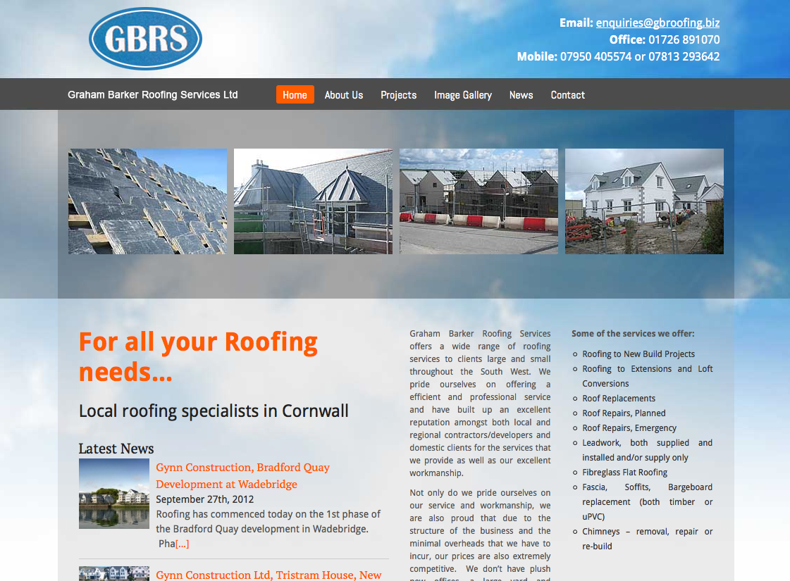 Graham Barker Roofing Services First Class Web Design
